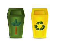 Green and Yellow Recycle Bin Royalty Free Stock Photos
