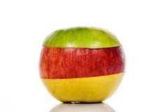 Green, yellow and Red Apple Royalty Free Stock Photo