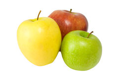 Green, yellow and red apples. Isolated on white royalty free stock images
