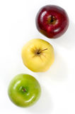 Green Yellow and Red Apples. Three colorful apples Red green and yellow Isolated on white background Royalty Free Stock Image