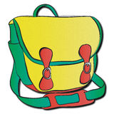 Green, yellow, and red bag. A rather stylish green, yellow, and red satchel-style bag Royalty Free Stock Image