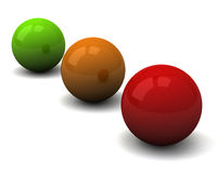 Green, yellow, red ball with shadow, 3d. Green, yellow, red ball with shadow like traffic lights symbol 3d Royalty Free Stock Images