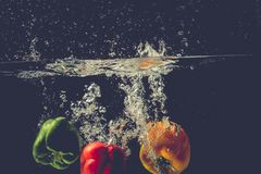 Green Yellow Red bell peppers drop into the water with splash. Royalty Free Stock Images