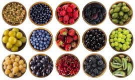 Green, Yellow, Red, Blue And Black Food. Berries Isolated On White. Collage Of Different Colors Fruits And Berries On A White Back Royalty Free Stock Photos