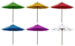 Green, Yellow, Red, Blue, Purple and White Beach Umbrellas. Isolated on white Stock Photos