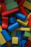 Colorful woodden bricks for playing Stock Photography