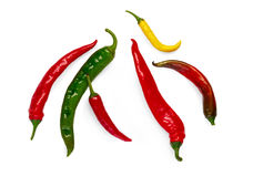Green, yellow and red chili peppers isolated on white background. Green, yellow and red chili pepper isolated on white background. Closeup image of ideal hot Royalty Free Stock Photo
