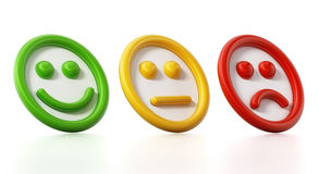 Green, yellow and red faces showing satisfaction levels. 3D illustration Stock Photos
