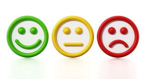 Green, yellow and red faces showing satisfaction levels. 3D illustration Stock Image