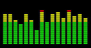 The green, yellow and red flashing lights of the levels on an audio mixing desk stock video