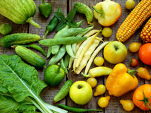 Green, yellow, red fruits and vegetables royalty free stock photos