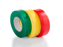 Green, yellow and red insulating tape Royalty Free Stock Images