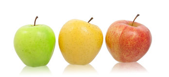 Green, yellow and red natural apples. Royalty Free Stock Images