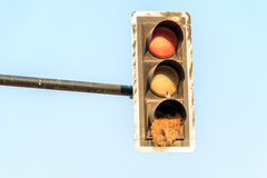green yellow Red old traffic light sign combined bicycle and ped Stock Image