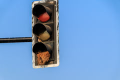 green yellow Red old traffic light sign combined bicycle and ped Royalty Free Stock Photography