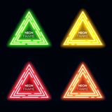 Green yellow red orange neon light triangles set. Shining techno frame collection. Night club 3d banners on dark blue backdrop. Neon abstract tech background Royalty Free Stock Images