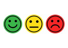 Green, yellow, red smileys emoticons icon positive, neutral and negative. Vector royalty free illustration