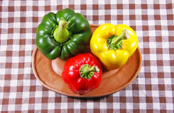 Green yellow and red sweet pepper Royalty Free Stock Images