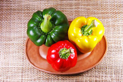 Green yellow and red sweet pepper i Stock Photos