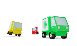 Green, yellow and red trucks on a road. Stock Photography