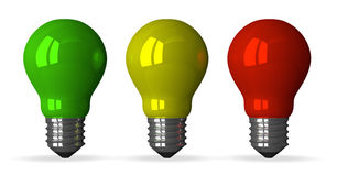 Green, yellow and red tungsten light bulbs, front view Stock Photography