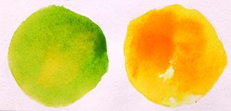 Green and yellow round circle abstract watercolor on white background stock photo