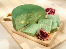 Green-yellow Sage Derby Cheese Royalty Free Stock Image