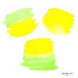 Green and yellow set watercolor stain Royalty Free Stock Photo