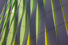 Green, yellow and silver curves of the university hospital in Gr Stock Photo