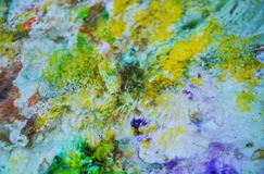 Green yellow smoky pastel colors, bright pastel paint acrylic watercolor background, colorful texture. Watercolor painting bright fluid smoky abstract background royalty free stock images
