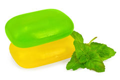 Green and yellow soap with mint Royalty Free Stock Images