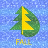 Green yellow spruce tree with inscription fall on blue Royalty Free Stock Images