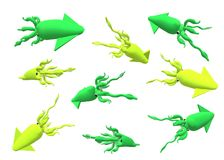Green and yellow squids on a white background. In different position, 3D illustration Royalty Free Stock Image
