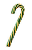 Green and Yellow Striped Candy Cane royalty free stock photo