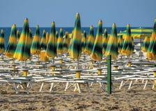 Green-yellow striped umbrellas Royalty Free Stock Image