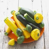 Green and Yellow Summer Squash Assortment Royalty Free Stock Photos