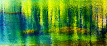 Green Yellow Summer Water Reflection Abstract Wenatchee River Washington. Yellow Blue Green Summer Colors Water Reflection Abstract Wenatchee River Leavenworth Royalty Free Stock Photography