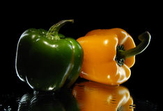 Green and yellow sweet pepper Royalty Free Stock Photo