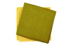 Green and yellow textile napkins on white Stock Image