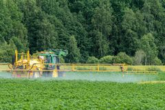 Green and yellow tractor fertilizing a green potato field stock images