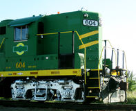 Green and yellow train engine Stock Photos