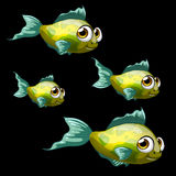 Green-yellow tropical fish, four cartoon vectors Royalty Free Stock Image