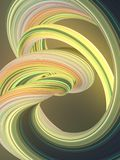 Green yellow twisted shape. Computer generated abstract geometric 3D render illustration. Green yellow abstract twisted shape. Computer generated geometric Royalty Free Stock Photos