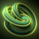 Green yellow twisted shape. Computer generated abstract geometric 3D render illustration Stock Images