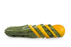 Green and yellow vegetable marrows Stock Images