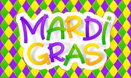 Green, yellow and violet colors Mardi Gras lettering on traditional rhombus pattern Stock Images