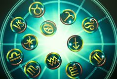 Green yellow zodiac signs over blue horoscope like astrology concept. Zodiac signs symbols lying on blue horoscope like astrology esoteric magic mystic occult royalty free stock photos