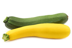 Green and yellow zucchini (Cucurbita pepo) Royalty Free Stock Photography