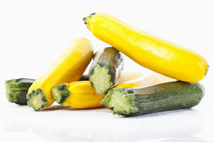 Green and yellow zucchinis Royalty Free Stock Images