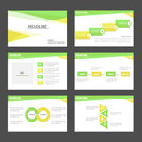 Green and yellowInfographic elements presentation template flat design set for brochure flyer leaflet marketing. Green and yellow Infographic elements Royalty Free Stock Images